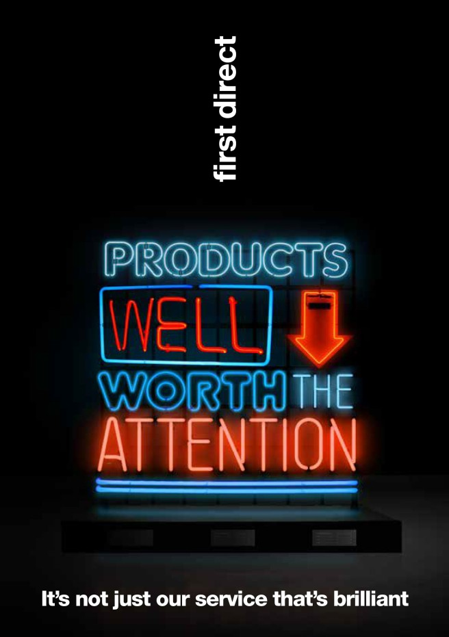 first direct poster. Text reads: Products well worth the attention.