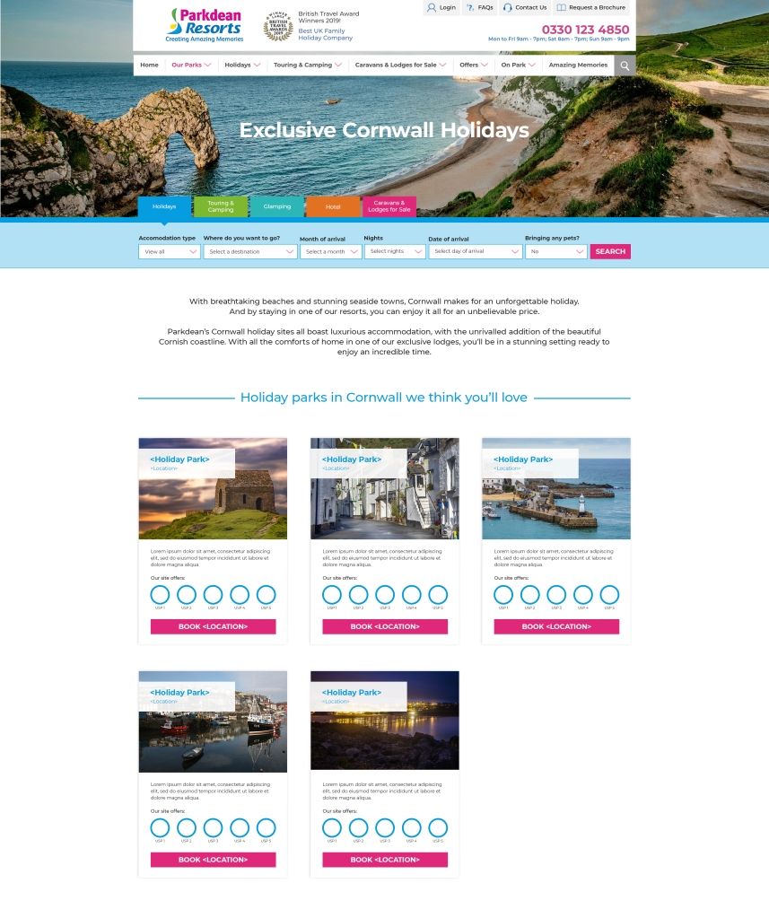Cornwall holidays web page for Parkdean Resorts.