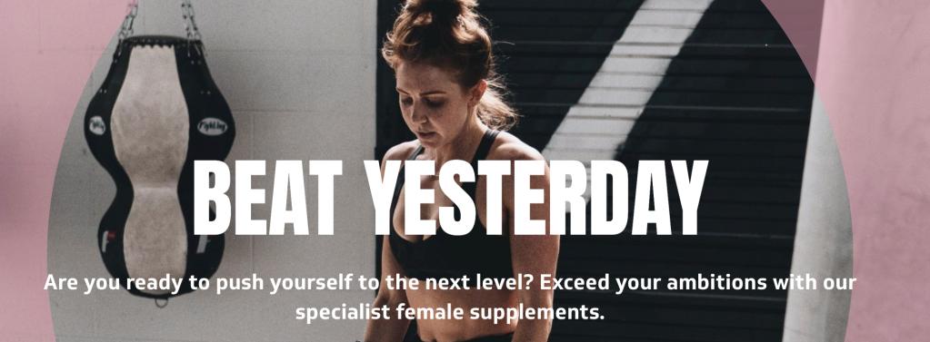 Protein powder website. Text reads: Beat yesterday.