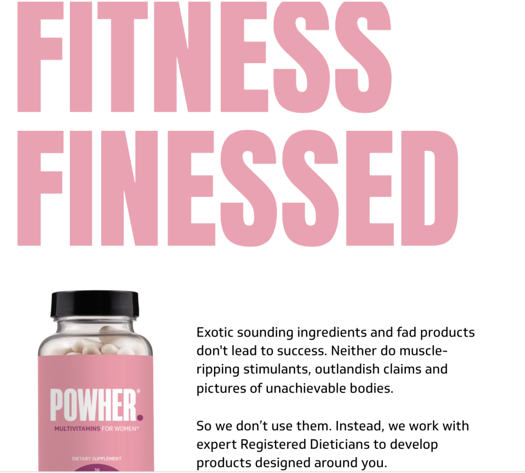 Protein powder website. Text reads: Fitness finessed.